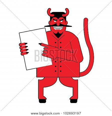 Devil and contract. Scary Mephistopheles offers deal to sign in blood. Red Satan offers to sign document. Horned Lucifer holds clean white sheet. Beelzebub with goat legs offers to sell his soul. poster