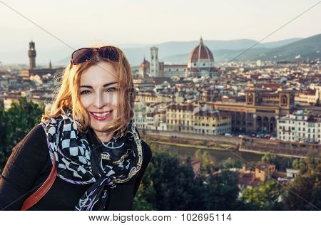 Beautiful Woman With View Of The City Florence From Piazzale Michelangelo, Italy