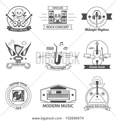 Black And White Music Styles Labels