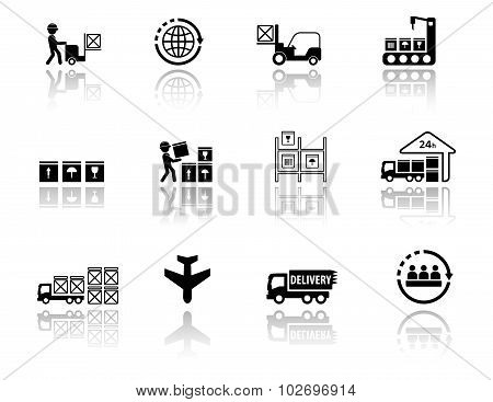 set logistic icons with mirror reflection silhouette