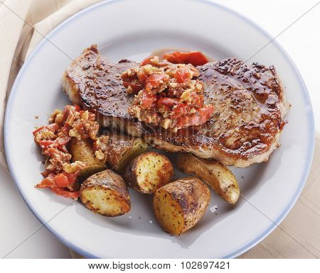 Seared Loin Steak with Fingerling Potatoes and Romesco Sauce