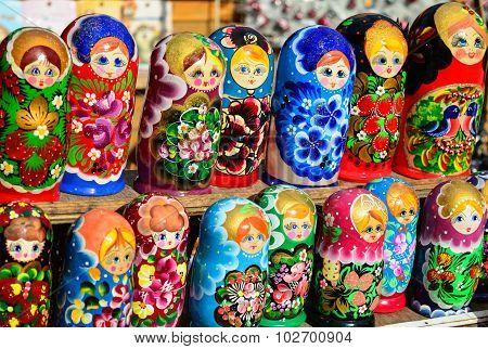 Colorful Russian Nesting Dolls / Matryoshka