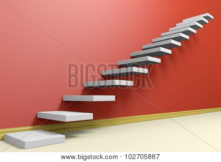 Ascending Stairs Of Rising Staircase In Red Empty Room With Beige Floor.