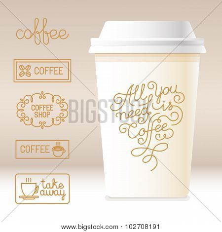 Vector Take Away Coffee Cardboard Cup With Linear Design Elements