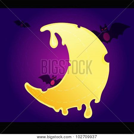 Helloween Cheese Melting Moon Or Crescent On Violet And Purple Background With Flying Bats