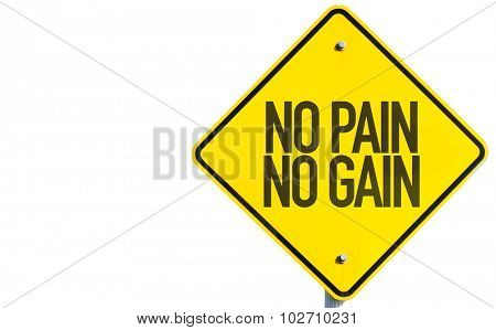 No Pain No Gain sign isolated on white background poster