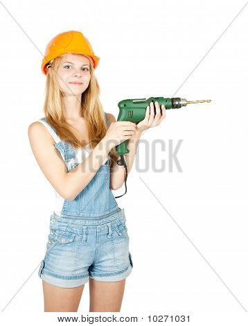 Girl In Hard Hat With Drill
