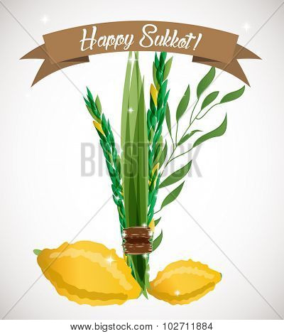 Vector illustration of four species - palm, willow, myrtle , lemon - symbols of Jewish holiday Sukkot (Feast of Tabernacles). Holiday of Sukkot illustration.