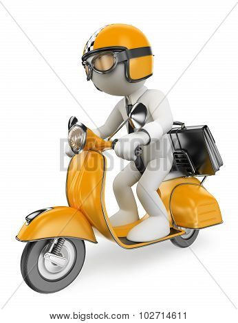 3D White People. Businessman On A Moto Scooter