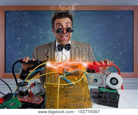 Nerd electronics technician retro short circuit lightning mess clamps in pcb