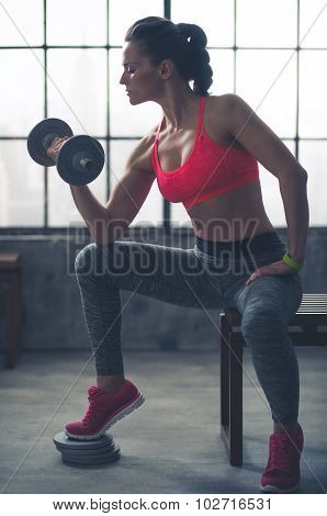 Woman Lifting Weights Sitting On Bench In Loft Gym