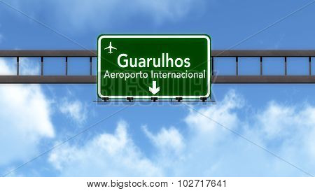 Sao Paulo Brazil Airport Highway Road Sign