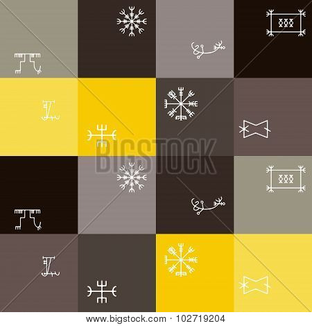 Seamless background with mascots of Scandinavian warriors for your design poster