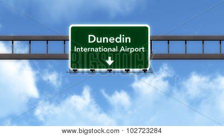 Dunedin New Zealand Airport Highway Road Sign