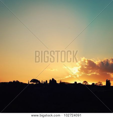 Scenic View Of Florence Sunset. Evening Landscape.