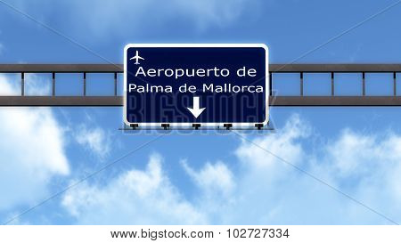 Palma De Mallorca Spain Airport Highway Road Sign