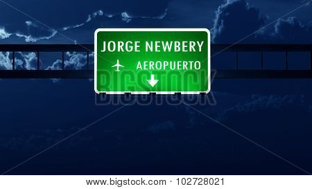 Buenos Aires Newbery Argentina Airport Highway Road Sign At Night