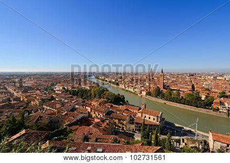 VERONA, ITALY - SEPTEMBER 2014 : View of Verona skyline, Church of Santa Anastasia, the Lamberti Tower, River Adige in Verona, Italy on September 14, 2014. Photo is taken from Castell San Pietro