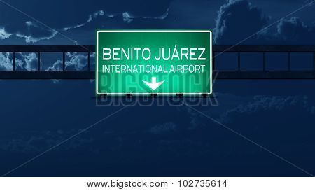 Mexico City Airport Highway Road Sign At Night