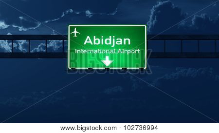 Abidjan Ivory Coast Airport Highway Road Sign at Night 3D Illustration poster