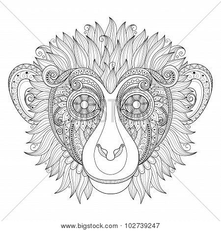Vector Ornate Monkey Head