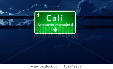 Cali Colombia Airport Highway Road Sign at Night 3D Illustration poster