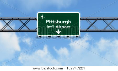 Pittsburgh Usa Airport Highway Sign
