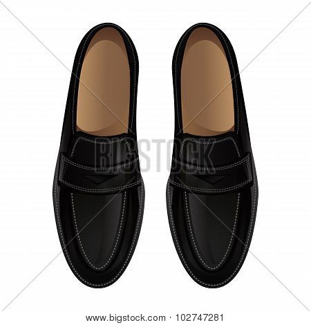 Loafers black shoes.