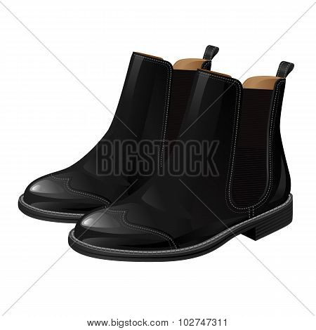 Classic shoes. Ankle short boot Classic shoes. Ankle boot with side elastic gussets.with side elastic gussets. poster