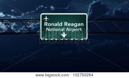 Washington Dc Reagan Usa Airport Highway Sign At Night