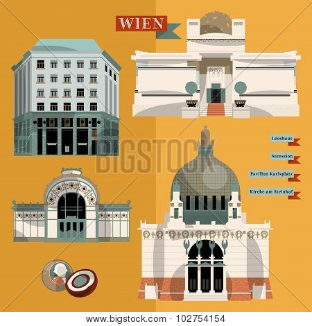 Sights of Vienna. Austria. Europe. Vector illustration poster