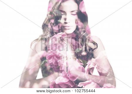 beautiful young woman with roses double exposure