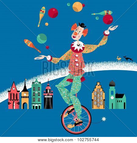 Clown On Unicycle Juggling With Balls And Pins.