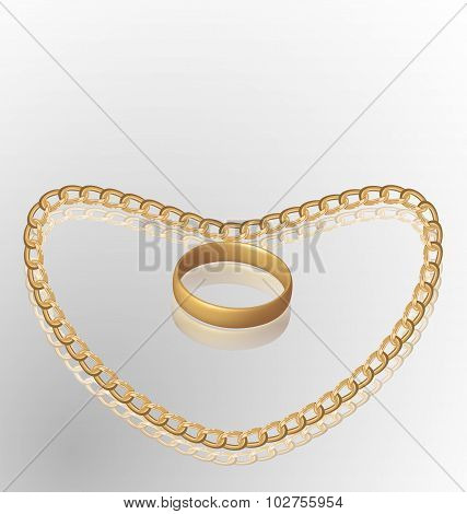 Jewelry ring on golden chain of heart shape