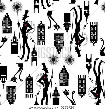 Chimney Sweep. Seamless Background Pattern.