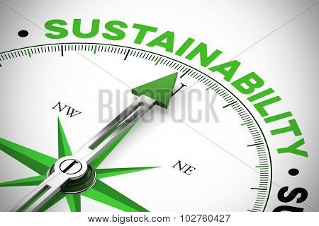 Green arrow of a compass pointing to Sustainability concept (3D Rendering)