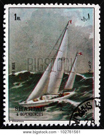 Postage Stamp Sharjah 1972 Racing Yacht