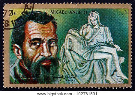 Postage Stamp Sharjah 1972 Pieta, By Michelangelo Buonarroti