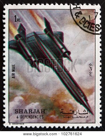 Postage Stamp Sharjah 1972 Supersonic Aircraft