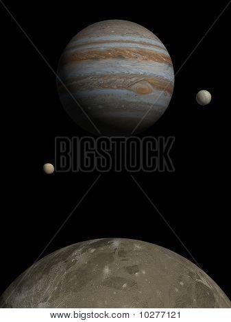 Jupiter rising over Ganymede