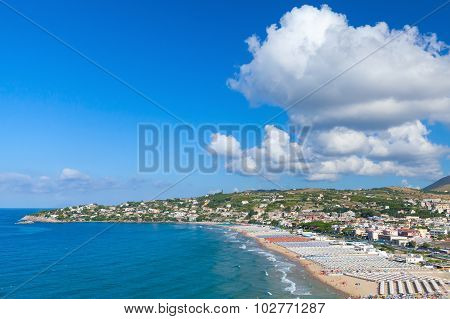 Mediterranean Sea Landscape. Public Beach