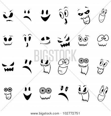 Set Of Twenty Four Ghosts Faces Outline