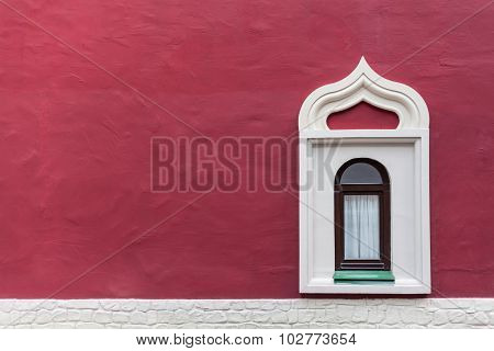 Background Window On The Red Wall