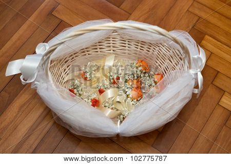 Wedding corsages in the basket