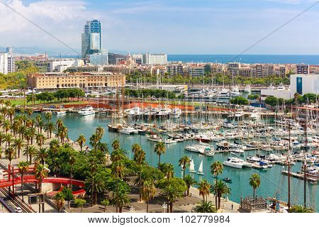 Aerial view over La Barceloneta and Port Vell marina from Christopher Columbus monument  in Barcelona, Catalonia, Spain poster