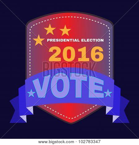 Election Day Campaign Ad Flyer. Social Promotion Banner. Presidential Vote Election Blue Ribbon. Digital vector illustration. poster