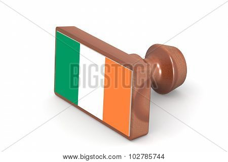 Wooden Stamp With Ireland Flag