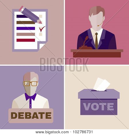 Elections Campaign. Candidates Debates. Studio full of people. Image Template for Flyer or Banner. Digital background vector illustration. poster