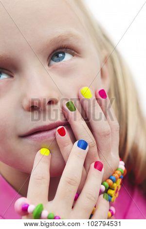 Children's multicolored manicure.