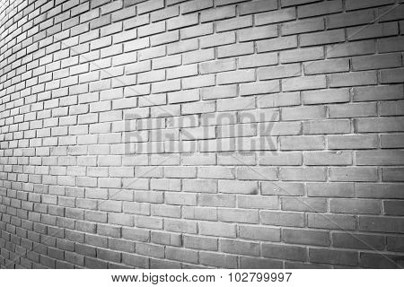 the perspective white brick wall texture background